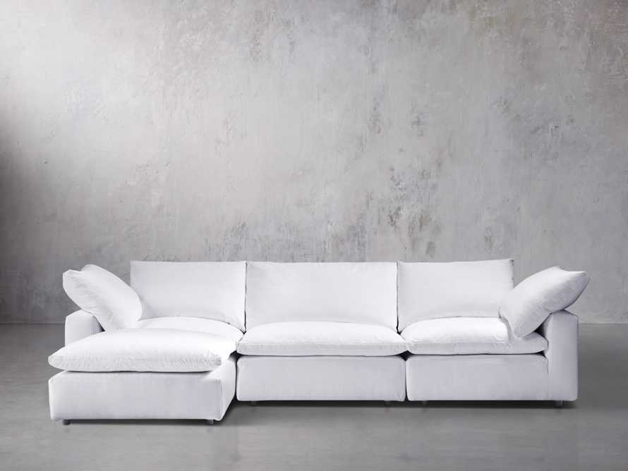 """Tahoe Slipcovered 135"""" Four Piece Sectional, slide 1 of 5"""