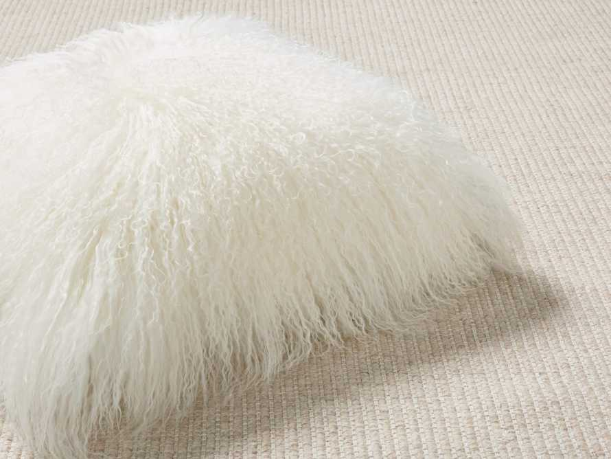 "Tibetan 16"" Square Longwool Pillow in Ivory"