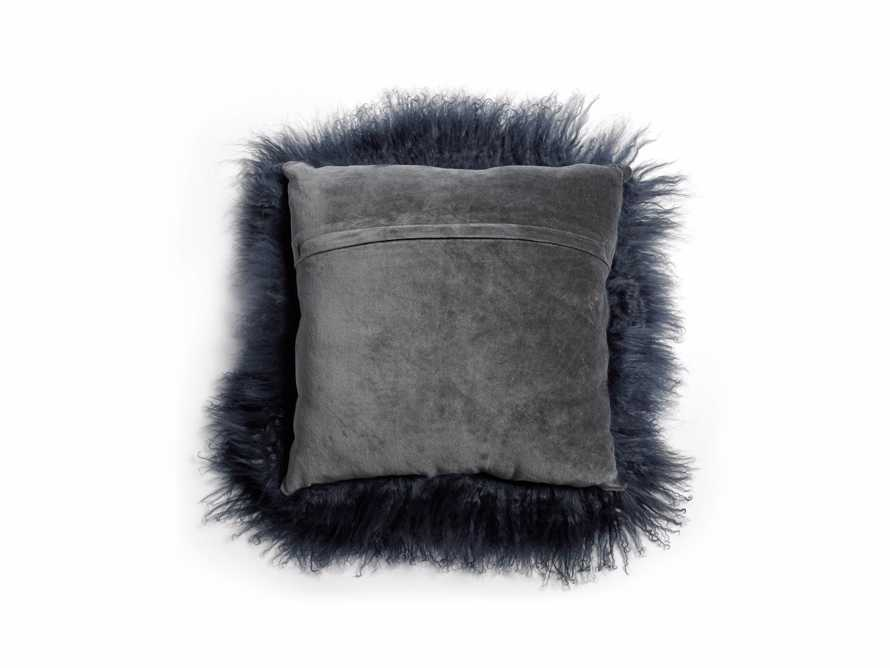 "Tibetan 16"" Square Longwool Pillow in Navy"