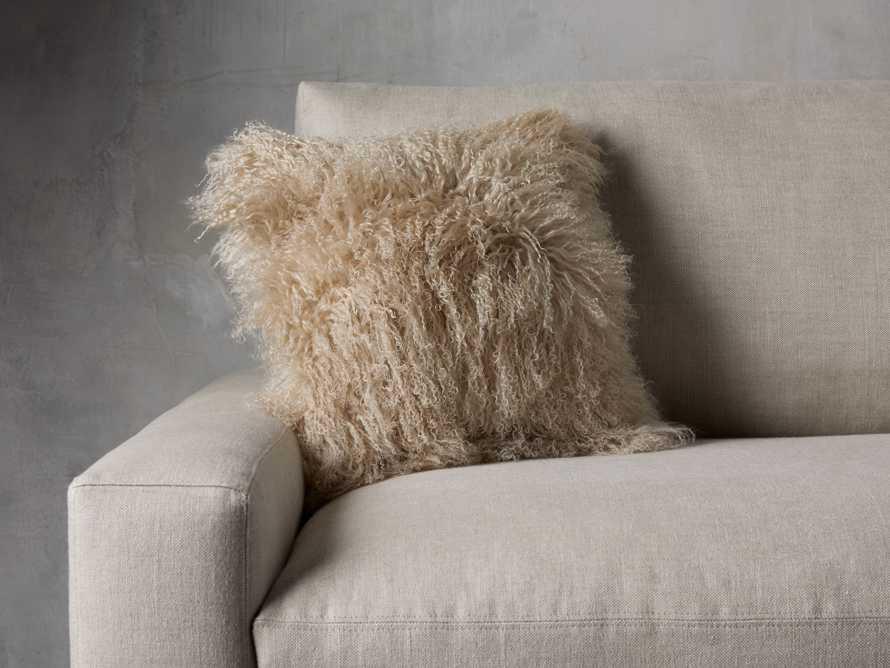 "Tibetan 16"" Longwool Square Pillow in Sand, slide 1 of 6"