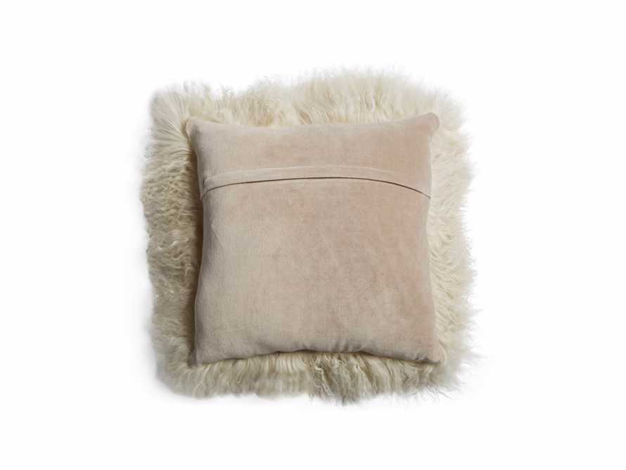 "Tibetan 16"" Longwool Square Pillow in Sand, slide 3 of 6"