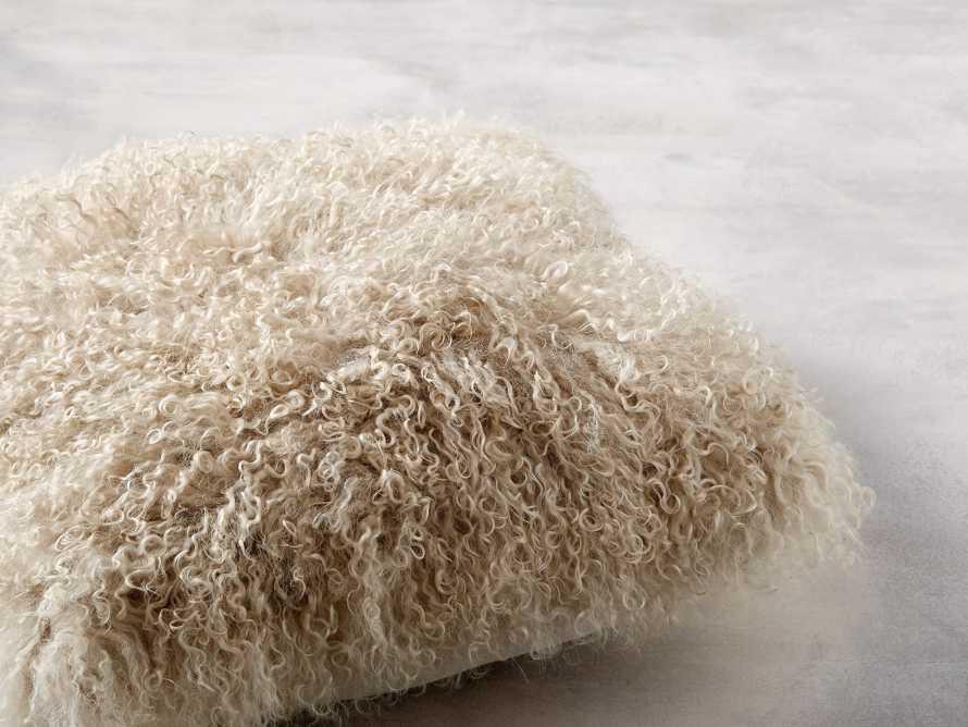 "Tibetan 16"" Longwool Square Pillow in Sand, slide 2 of 6"