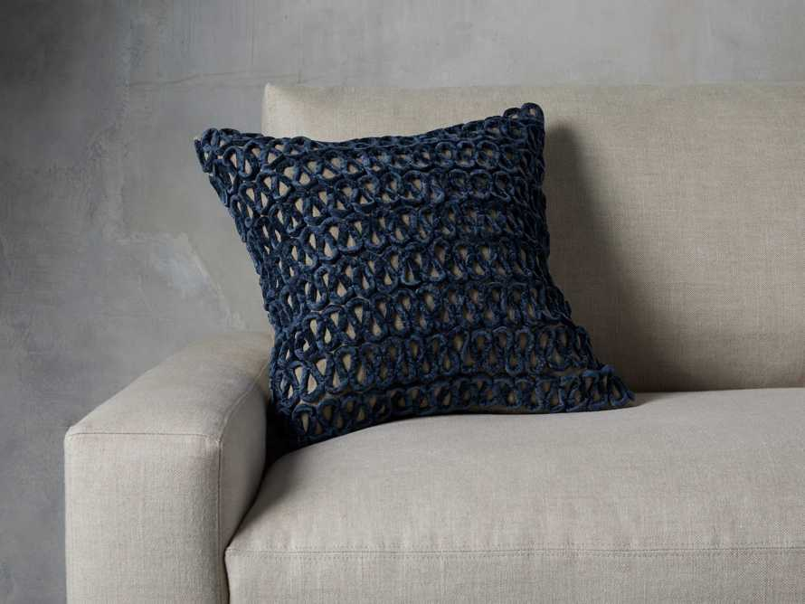 Blue Velvet Linen Loop Pillow, slide 1 of 4