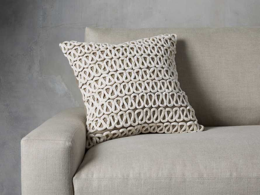 Ivory Velvet Loop Linen Pillow, slide 1 of 4
