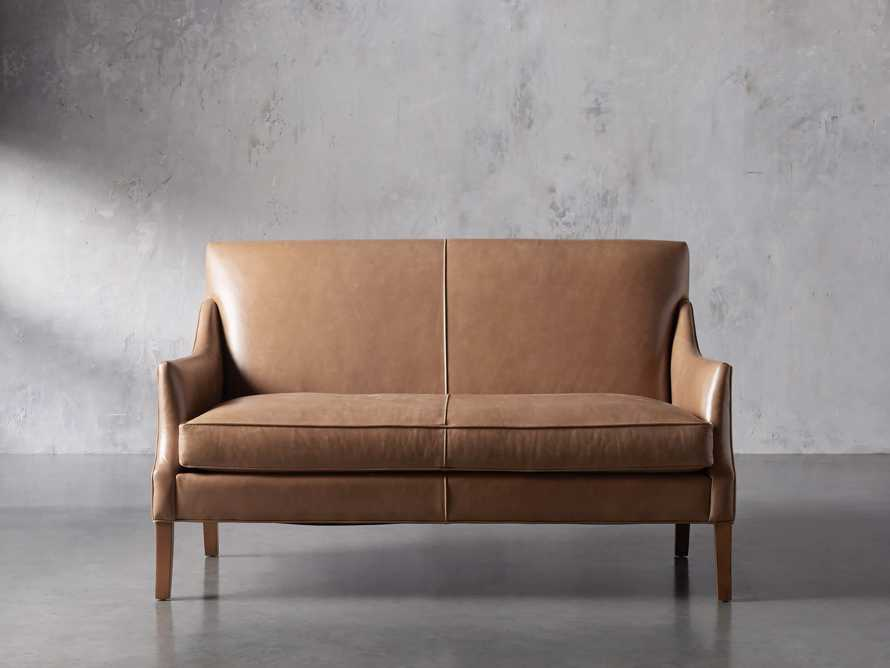 "Dori Leather 61"" Settee, slide 2 of 10"