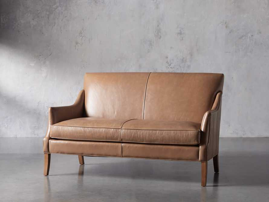 "Dori Leather 61"" Settee, slide 3 of 10"