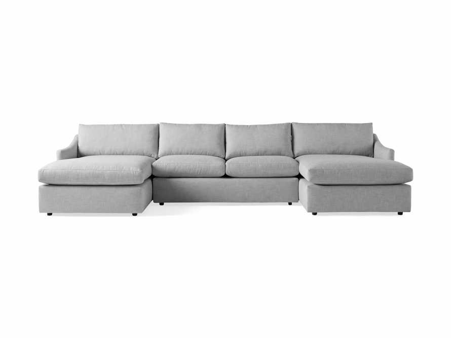 """Branson Outdoor Upholstered 138"""" Double Chaise Sectional, slide 2 of 5"""