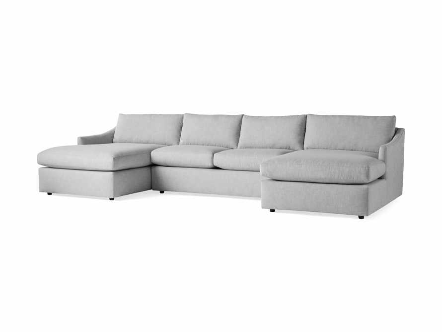 """Branson Outdoor Upholstered 138"""" Double Chaise Sectional, slide 3 of 5"""