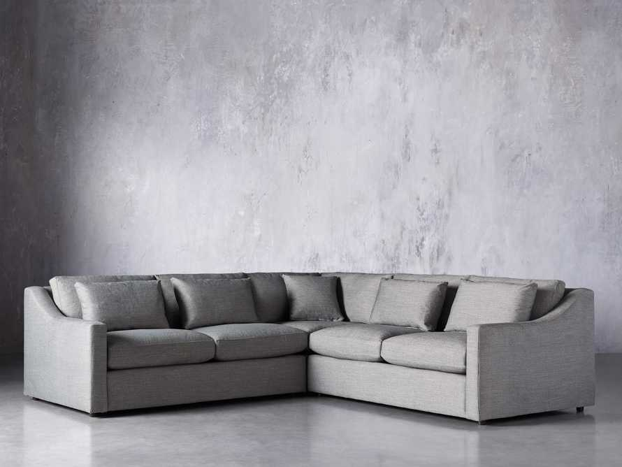 Ashby Upholstered 3 Pc Corner Petite Sectional in Tolliver Stone, slide 3 of 7