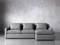 Ashby Upholstered Two Pc R Arm Chaise Petite Sectional in Tolliver Stone