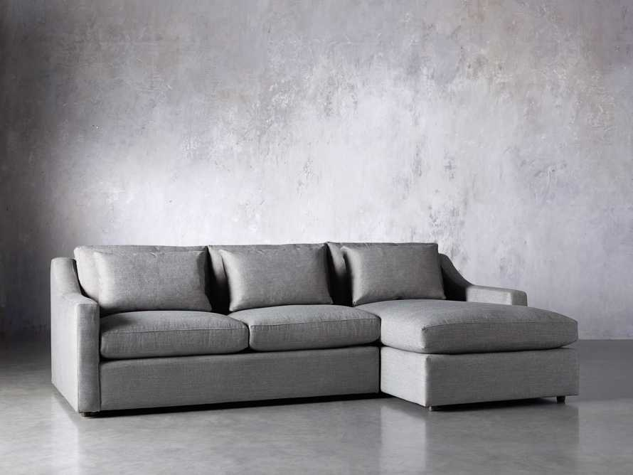 Ashby Upholstered Two Pc R Arm Chaise Petite Sectional in Tolliver Stone, slide 3 of 8