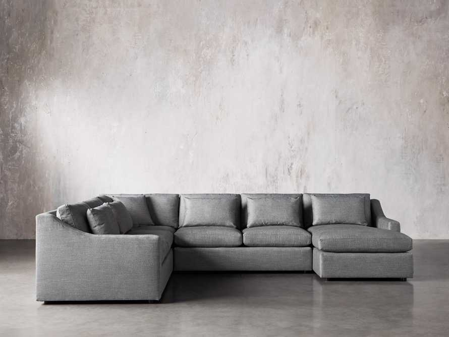 Ashby Upholstered Four Pc R Arm Chaise Petite Sectional in Tolliver Stone, slide 1 of 11