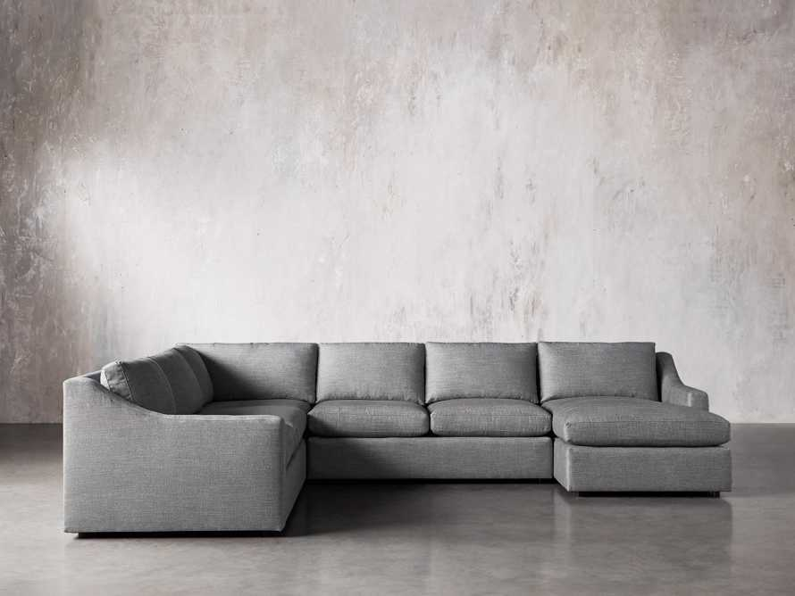 Ashby Upholstered Four Pc R Arm Chaise Petite Sectional in Tolliver Stone, slide 2 of 11