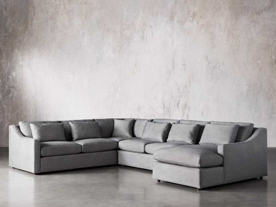 Ashby Upholstered Four Pc R Arm Chaise Petite Sectional in Tolliver Stone, slide 3 of 11