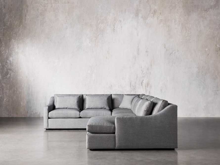 Ashby Upholstered Four Pc R Arm Chaise Petite Sectional in Tolliver Stone, slide 4 of 11