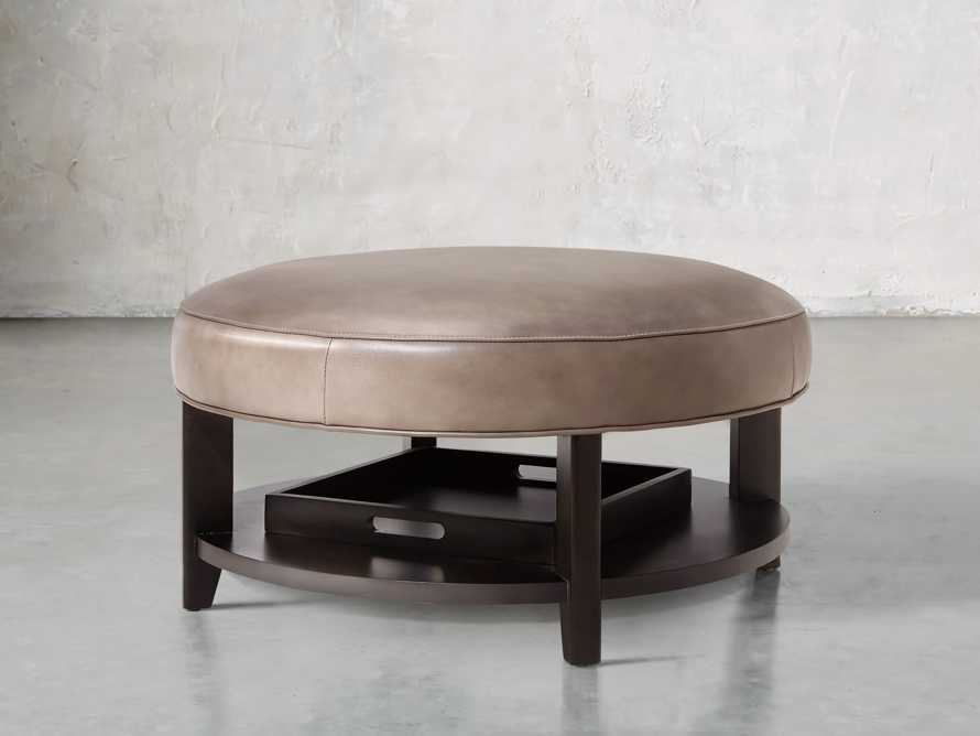 """Butler Leather 32"""" Non Tufted Round Ottoman, slide 2 of 5"""