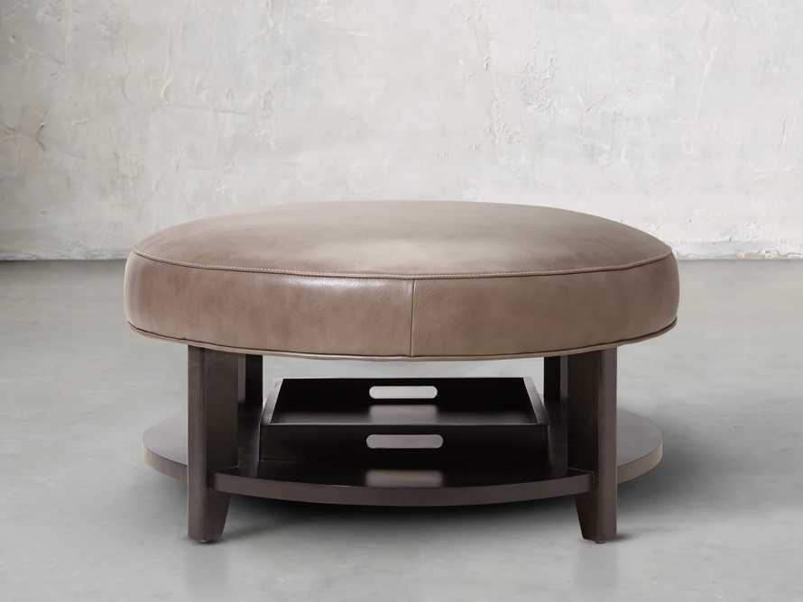 """Butler Leather 32"""" Non Tufted Round Ottoman, slide 3 of 5"""