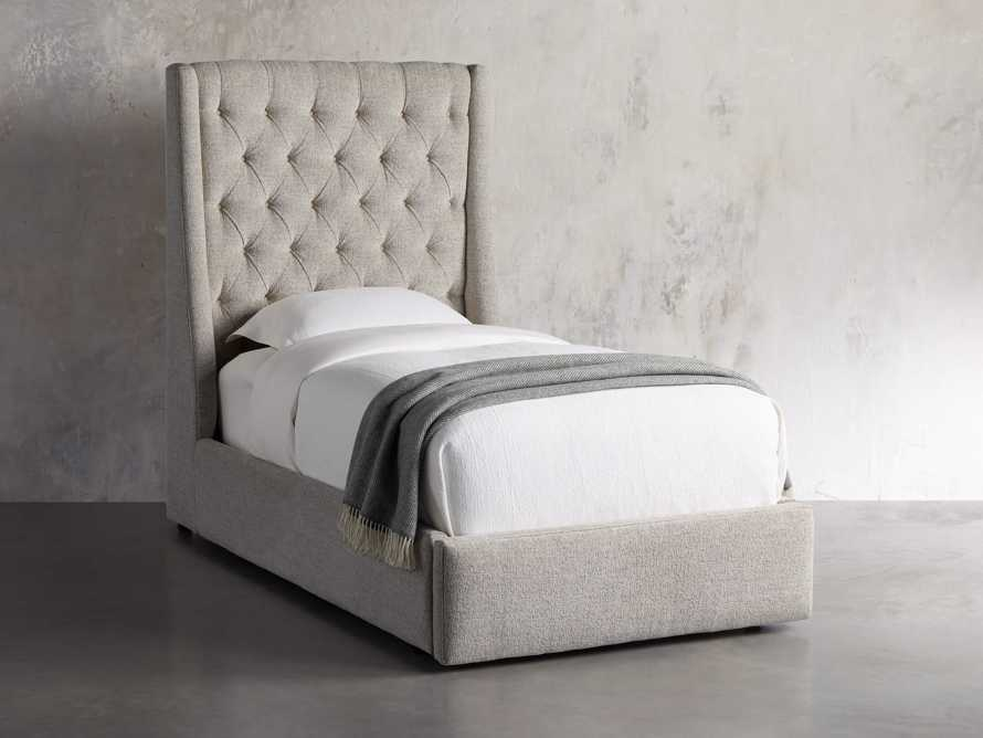 "Devereaux Upholstered 62"" Twin Storage Bed in Plush Linen, slide 2 of 9"