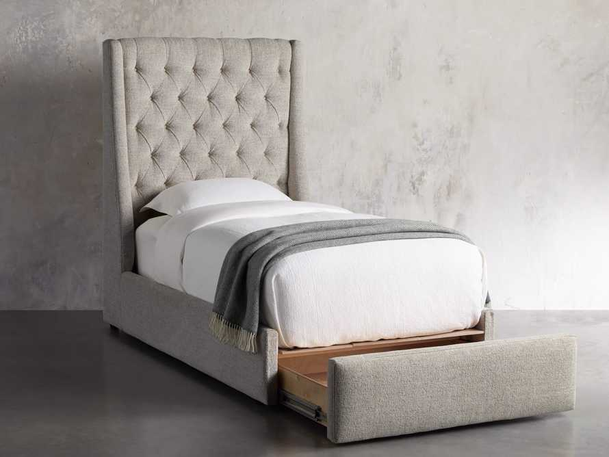"Devereaux Upholstered 62"" Twin Storage Bed in Plush Linen, slide 3 of 9"