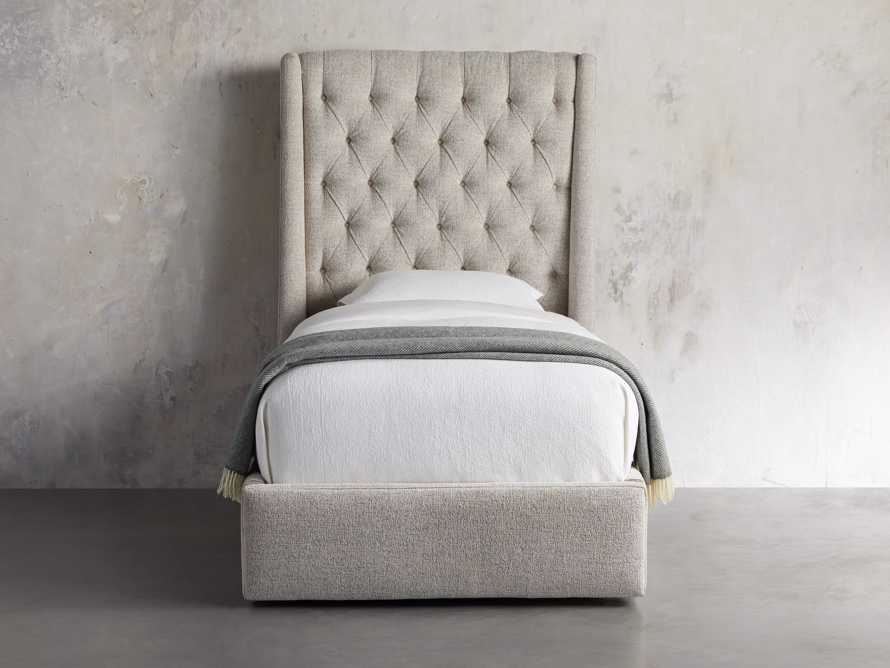 "Devereaux Upholstered 62"" Twin Storage Bed in Plush Linen, slide 4 of 9"