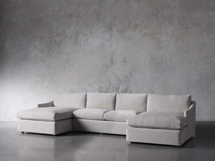"Branson Upholstered 138"" Double Chaise Sectional, slide 3 of 7"