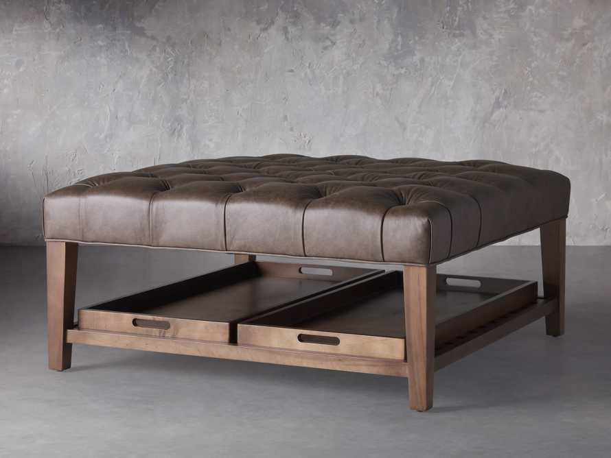 """Fletcher Leather Tufted 39"""" Square Ottoman, slide 2 of 6"""