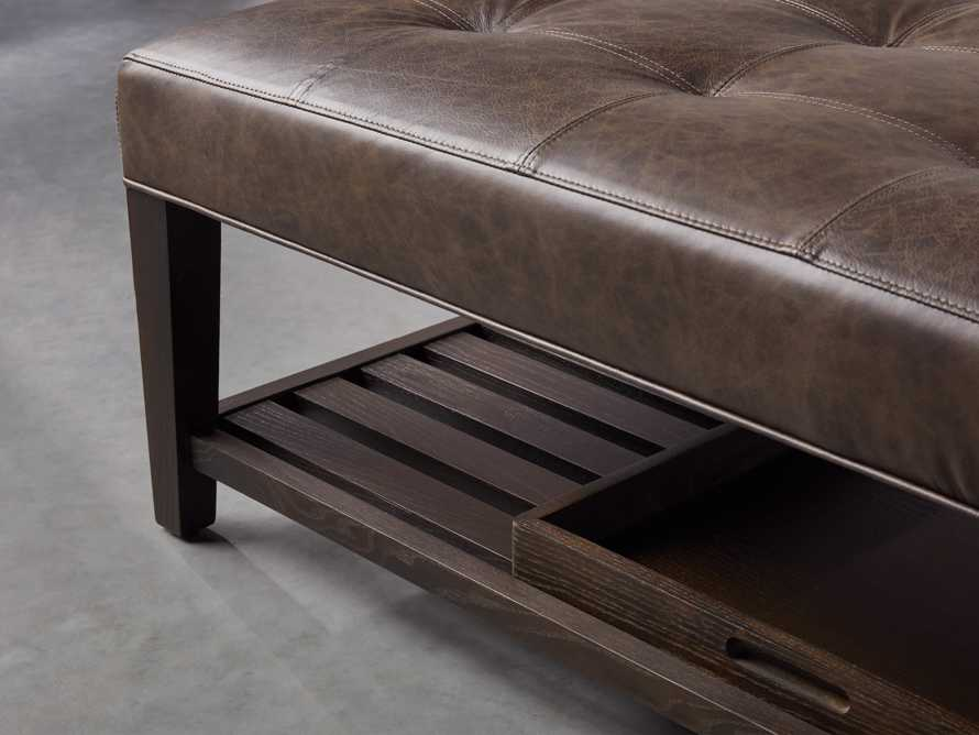 """Fletcher Leather Biscuit Tufted 47"""" Rectangle Ottoman, slide 5 of 6"""