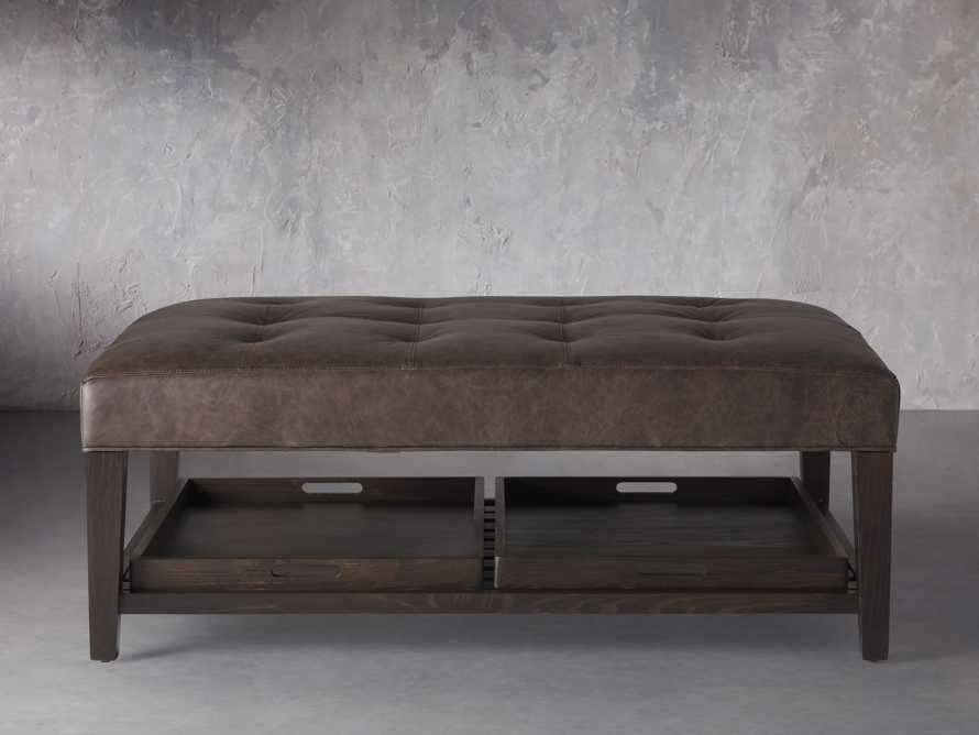 """Fletcher Leather Biscuit Tufted 47"""" Rectangle Ottoman, slide 2 of 6"""