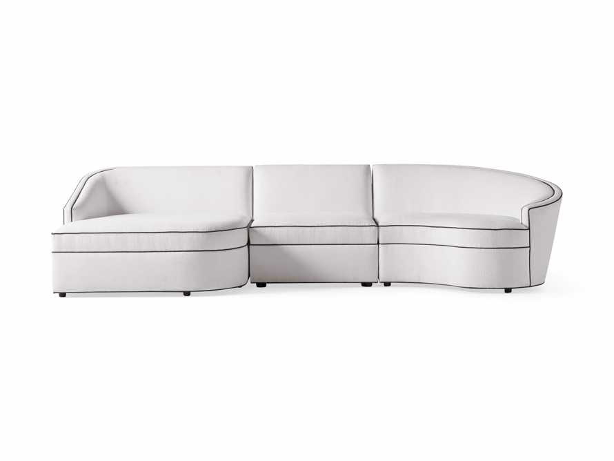 "Harper Outdoor Upholstered 135"" Three Piece Sectional, slide 2 of 5"