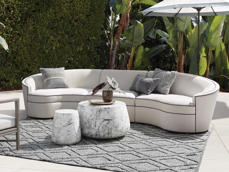"""Harper Outdoor Upholstered 135"""" Three Piece Sectional, slide 1 of 7"""