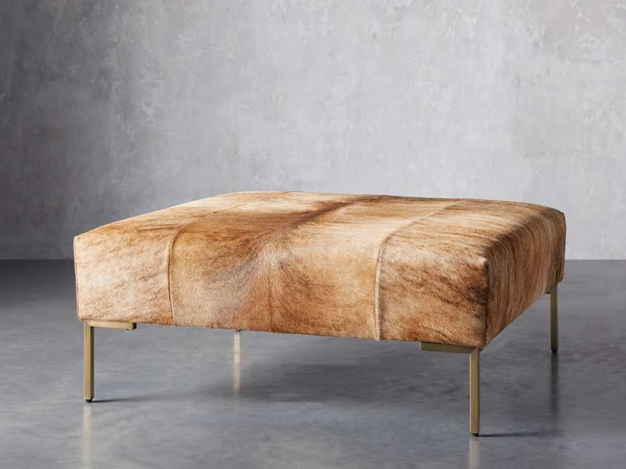 "Tilton Leather 40"" Ottoman in Blonde Brindle Hair on Hide, slide 3 of 5"
