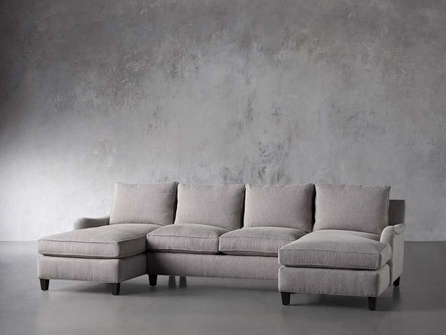"""Paxton Upholstered 130"""" Double Chaise Sectional, slide 3 of 6"""