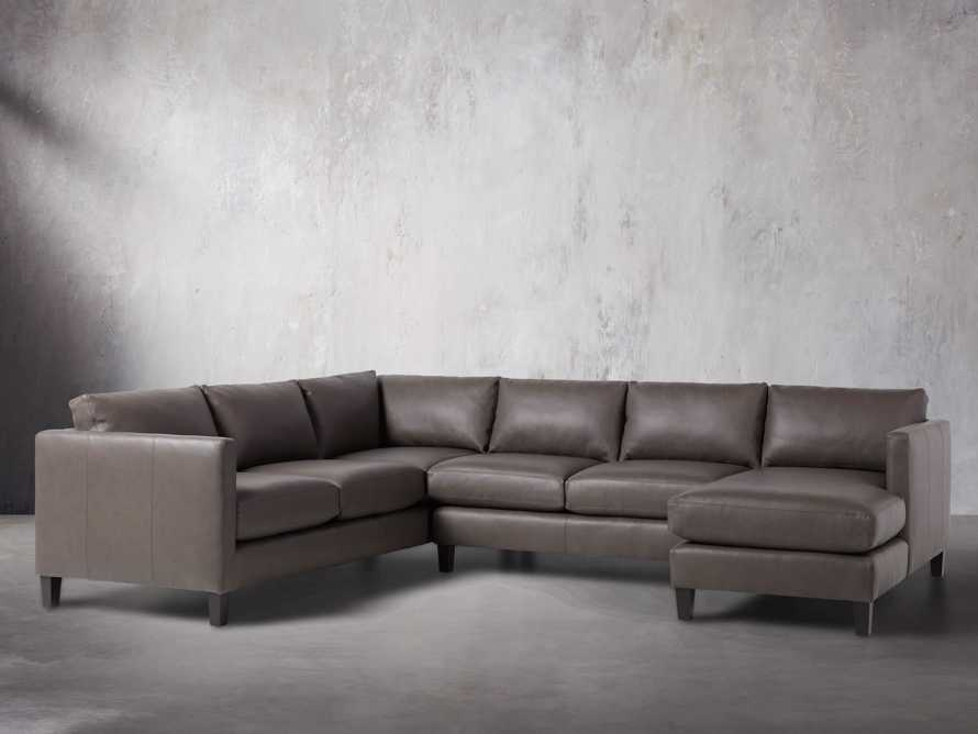 "Taylor 124"" Leather Three Piece Reverse Sectional"