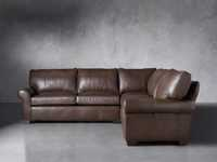 "Brentwood Leather 111"" Three Piece Corner Sectional"