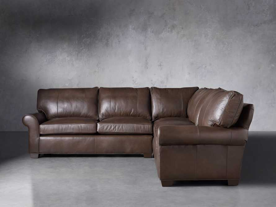 "Brentwood Leather 111"" Three Piece Corner Sectional, slide 2 of 9"
