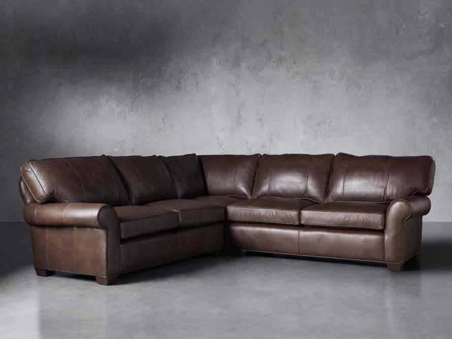 "Brentwood Leather 111"" Three Piece Corner Sectional, slide 3 of 9"